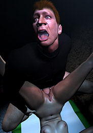3D Bdsm Tryten - his cock jerked and twitched inside Angela as he filled her back door with his man seed, flooding her guts